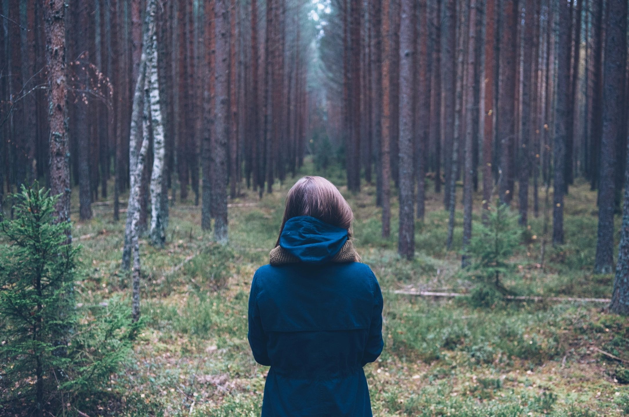 Woman staring at trees